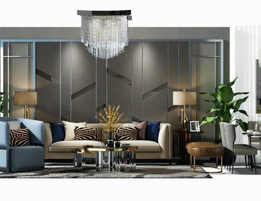 沙发组, 沙发背景墙, 背景墙, 吊灯, 水晶吊灯, 餐桌椅组合, 桌椅, 餐桌, 桌椅组合, 盆景, 植物, 地毯, 沙发椅, 椅子, 沙发凳
