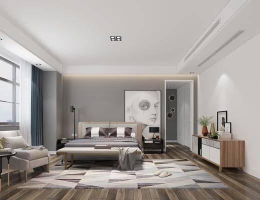 卧室, 双人床, 床头柜, 落地灯, 台灯, 装饰画, 人物画, 边柜, 电视柜, 单人沙发, 边几, 墙饰, 摆件, 装饰品, 陈设品, 现代