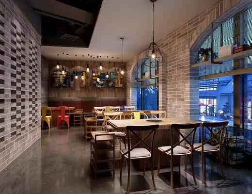 餐厅, 餐桌, 餐椅, 单人椅, 吊灯, 工业风餐厅, 工业风