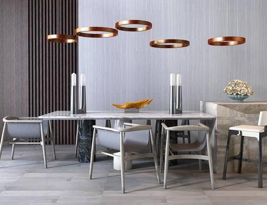 新中式, 中式, 餐桌椅, 桌椅组合, 吊灯, 椅子, 单椅