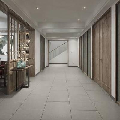 中式, 餐厅, 客厅, 过道, 装饰台