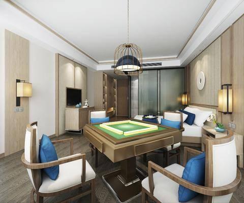 酒店客房, 麻将桌组合, 双人床组合, 现代