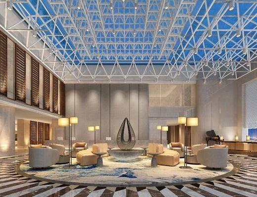 酒店大堂, 接待前台, 大堂大厅, 单人沙发, 多人沙发, 异形沙发, 落地灯, 边几, 台灯, 钢琴, 壁灯, 射灯, 新中式
