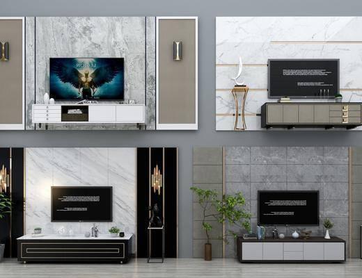 电视背景墙, 电视柜, 边柜, 壁灯, 现代, 双十一
