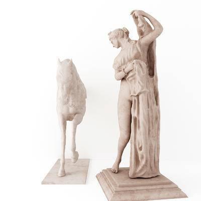 马雕塑摆件, 雕塑雕刻, 摆件组合, 现代