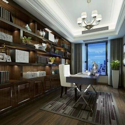 书房, 装饰柜, 书桌, 单人椅, 摆件, 装饰品, 陈设品, 吊灯, 书籍, 休闲椅, 后现代