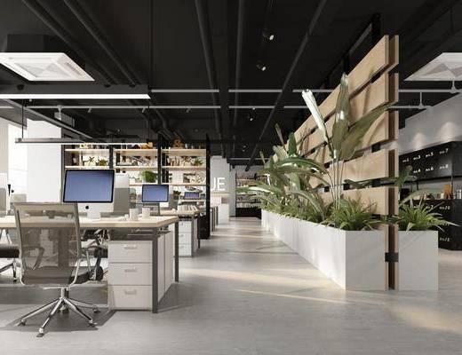 桌椅组合, 办公桌, 盆栽, 花草, 吊灯