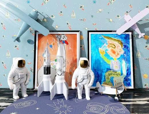 飞机, 地毯, 玩具, 摆件, 装饰品, 陈设, 玩偶