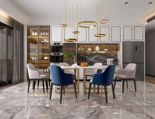 现代轻奢餐厅, 餐桌椅, 吊灯, 装饰柜