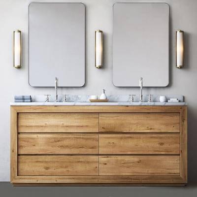 现代, 卫浴, 洗手台, 镜子, 壁灯, 洗手盆, 洗手液