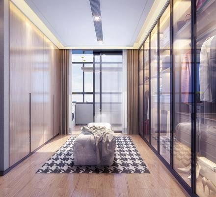 现代极简衣帽间, 沙发凳, 衣柜, 现代