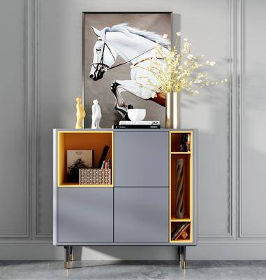 边柜, 柜架组合, 摆件, 装饰画