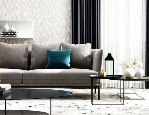 沙发, 沙发组合, 多人沙发, 落地灯, 茶几, 边几, 摆件, 装饰品, 植物, 盆栽, 花瓶, 花卉, 地毯, 置物架, 陈设品, 书籍, 现代