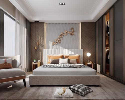 卧室, 双人床, 床头柜, 台灯, 墙饰, 吊灯, 衣柜, 服饰, 衣架, 抱枕, 单人沙发, 现代