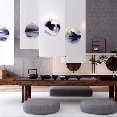 桌子, 边几, 屏风, 差距, 摆件, 日韩