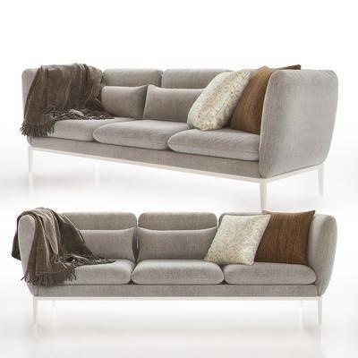 现代布艺多人沙发, 现代, 沙发, 布艺沙发, 抱枕