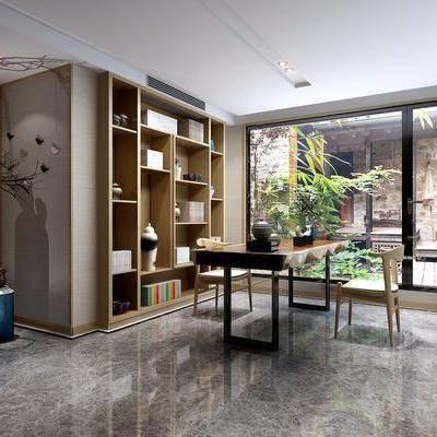 书房, 装饰柜, 书桌, 单人椅, 书籍, 绿植, 盆栽, 摆件, 装饰品, 陈设品, 新中式