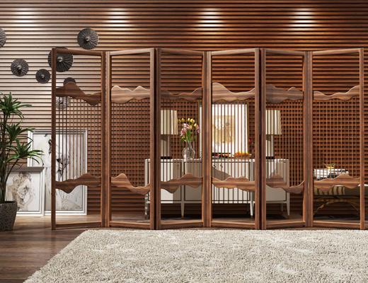 屏风, 装饰柜, 边柜, 中式, 玄关柜, 隔断
