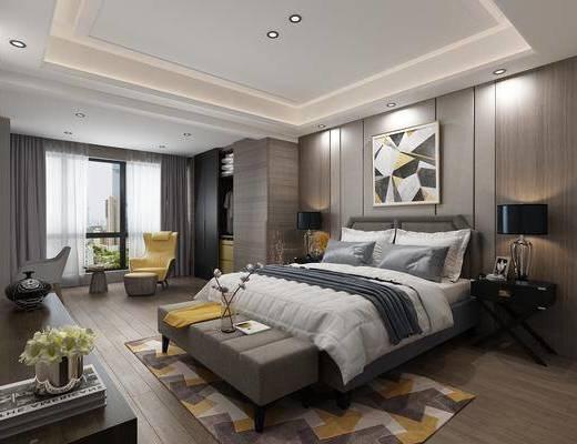 现代, 卧室, 床头柜, 休闲沙发, 角几, 电视柜, 双人床