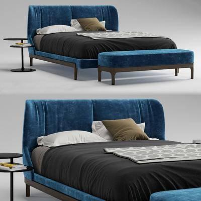 床具, 双人床, 尾榻, 圆几, 摆件, 现代