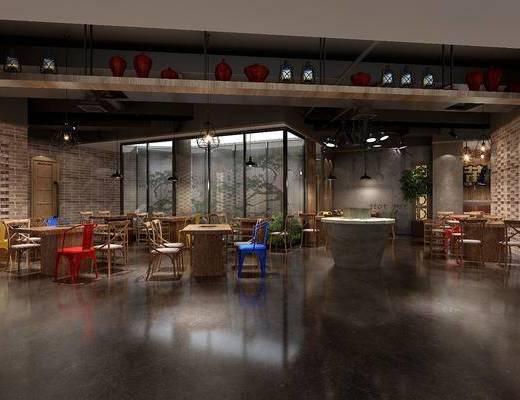 餐厅, 餐桌, 餐椅, 单人椅, 吊灯, 盆栽, 绿植, 植物, 工业风