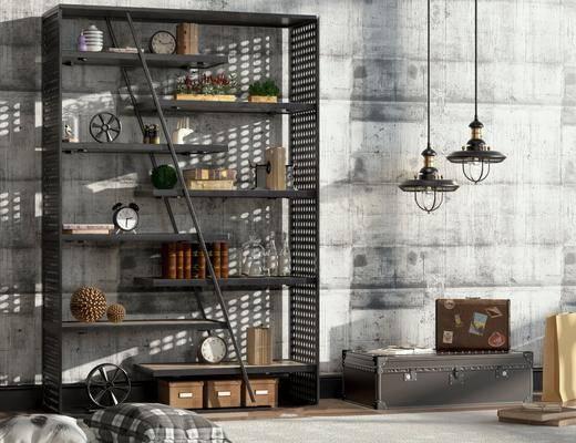 储物柜, 吊灯, 摆件组合, 书柜, 书籍