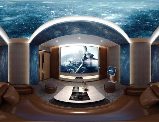 家庭影院, 沙发, 边几, 影音设备