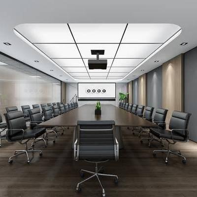 现代会议室, 现代, 会议室, 会议桌, 办公椅, 植物
