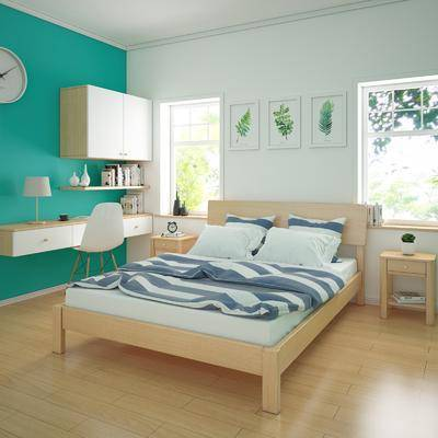 北欧卧室, 北欧, 卧室, 实木床, 床头柜, 装饰画, 书桌, 椅子
