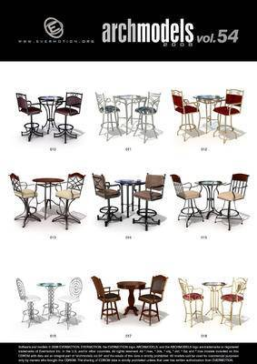 餐桌椅, 桌椅组合, 椅子, 桌子, Evermotion, Archmodels