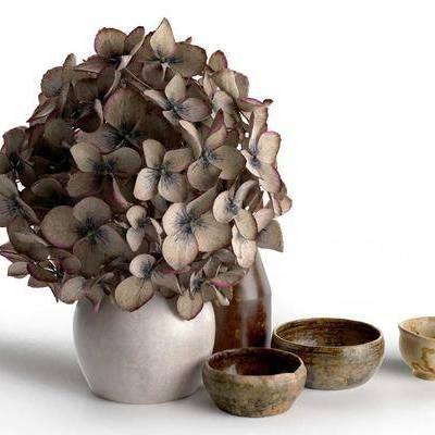 现代花卉陶瓷碗杯组合, 现代, 花卉, 陶瓷