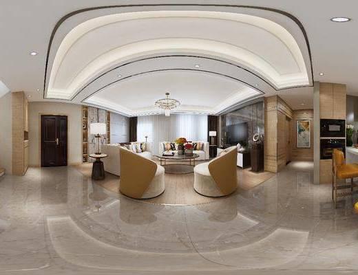 客厅, 沙发组合, 沙发茶几组合, 现代, 后现代, 茶几, 吊灯, 餐厅, 边几, 台灯