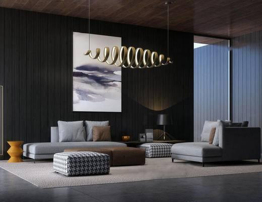 minotti, 意大利, 现代, 沙发, 茶几, 沙发茶几组合, 多人沙发, 挂画, 装饰画, 吊灯