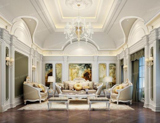 客厅, 法式, 沙发组合, 沙发茶几组合, 法式客厅, 欧式客厅
