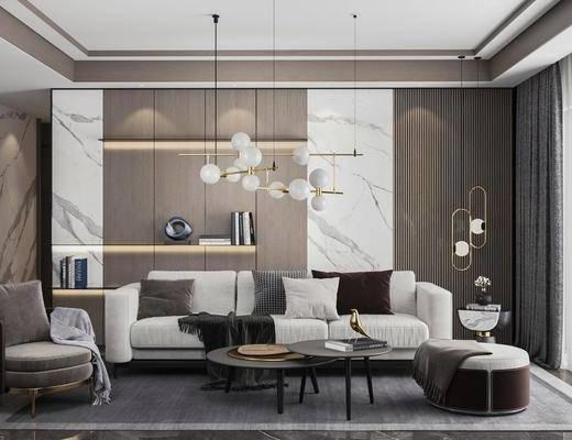 沙发组合, 吊灯, 茶几, 单椅, 边几