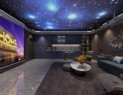 现代影音室, 沙发, 投影