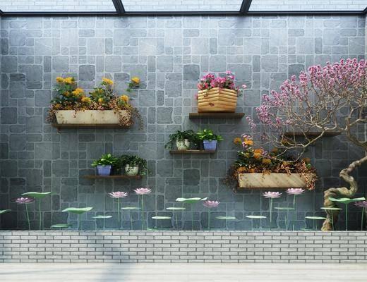园艺小品, 花卉, 中式