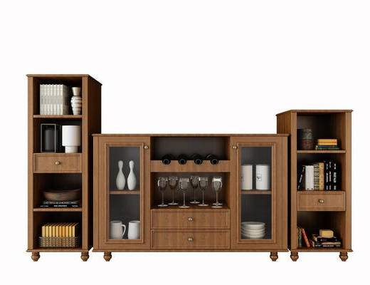 酒柜, 边柜, 储物柜, 红酒, 酒瓶, 杯子, 摆件, 现代