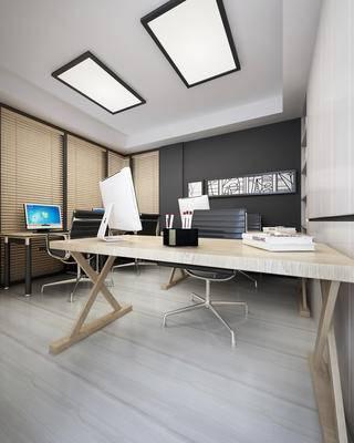 现代办公室桌椅, 电脑, 墙饰, 百叶帘, 吸顶灯, 书柜