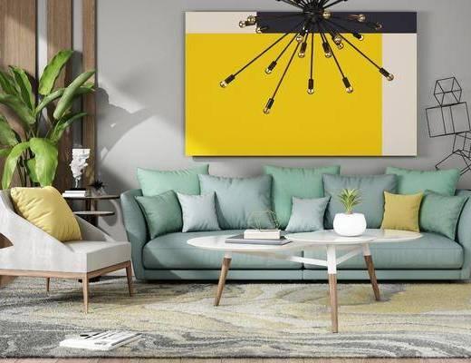 沙发茶几, 吊灯, 盆栽, 沙发, 沙发椅, 边几, 茶几, 现代