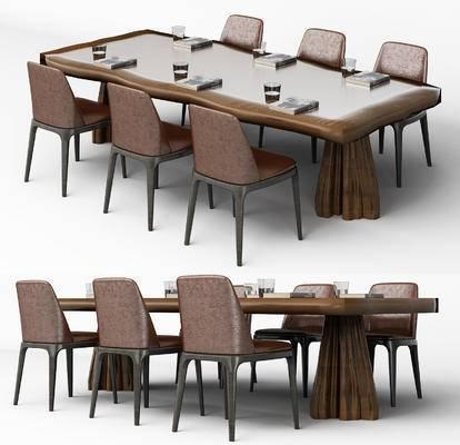 桌椅组合, 单椅, 椅子, 桌子, 新中式, 现代