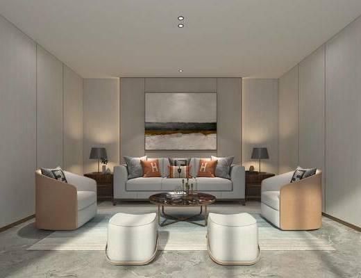 沙发组合, 装饰画, 抱枕, 单椅, 茶几