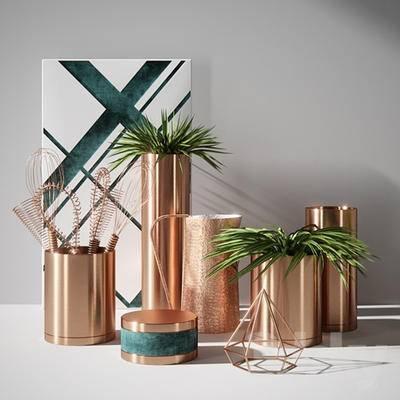花瓶, 摆件组合, 植物, 装饰品