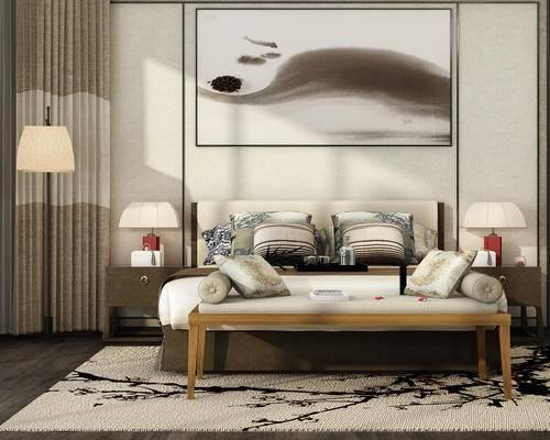 中式, 床具, 床尾凳, 装饰画, 台灯, 床头柜