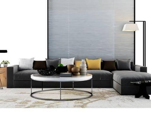 沙发组合, 茶几, 边几, 多人沙发, 落地灯, 台灯, 书籍, 书本, 现代, 摆件, 装饰品