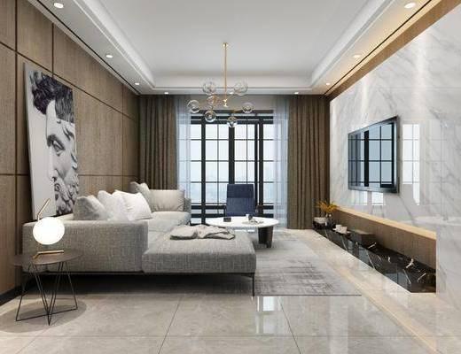 客厅, 餐厅, 现代客餐厅, 沙发组合, 茶几, 摆件, 桌椅组合, 吊灯, 现代