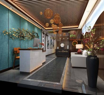 酒店门厅, 楼梯, 前台, 单人椅, 墙饰, 多人沙发, 边几, 台灯, 吊灯, 装饰柜, 花瓶, 花卉, 装饰画, 挂画, 摆件, 装饰品, 陈设品, 中式