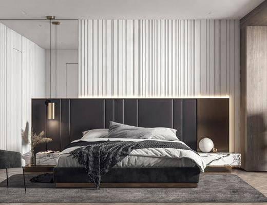 雙人床, 床具組合, 吊燈, 單椅, 擺件組合