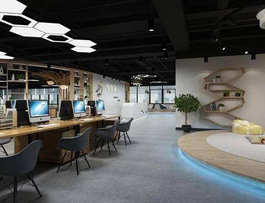 办公室, 办公桌, 办公椅, 单人椅, 盆栽, 绿植, 电脑, 前台, 摆件, 装饰品, 陈设品, 工业风