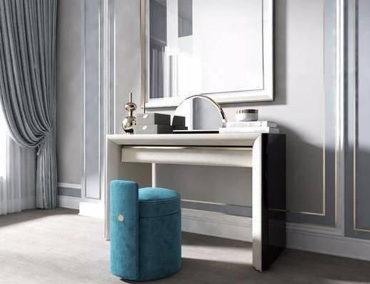 现代, 梳妆台, 凳子, 镜子, 摆件